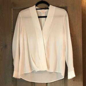 CUYANA V neck white blouse!